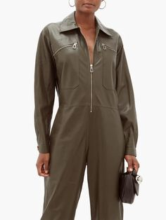 Dodo Bar Or Barbara zipped leather jumpsuit Leather Jumpsuit, Kitten Heel Sandals, Collar Top, Leather Clutch Bags, Khaki Green, Metal Buckles, T Strap, Green Leather, Fitness Models