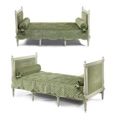 A pair of Louis XVI gray-painted lits de repos,circa both stamped several times, P. Georgian Furniture, French Furniture, Antique Furniture, French Bed, Grey Paint, Louis Xvi, Contemporary, Modern, Couch