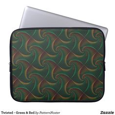 Twisted - Green & Red Computer Sleeve #gifts #style #green #laptopsleeve #spirals
