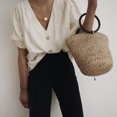 monochrome, gold accessories, basket bag SS
