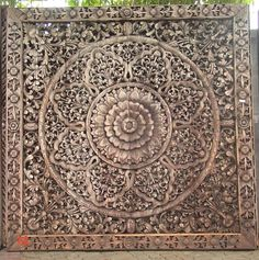 Hand carved Teak Wood Panel from Thailand. Intricately hand carved with floral details. Measures ...