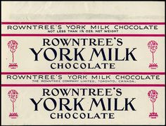 Canada - Rowntree - York Milk chocolate candy bar wrapper - 1960's 1970's by JasonLiebig, via Flickr