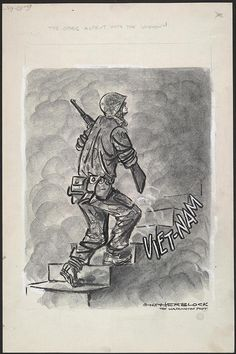 June 10, 1965 Image of Herblock's The other ascent into the unknown.  Herb Block was prescient in his view that this constituted a major step in the involvement of U.S. forces in Indochina.    The other ascent into the unknown, June 10, 1965 Ink, graphite, and opaque white over graphite underdrawing on layered paper  Published in the Washington Post (61)  LC-USZ62-127068