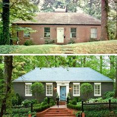 Some people can never afford a modest starter home. before-and-after-atlanta-brick-home – starter home upgrade – curb appeal Some people can never afford a modest starter home. before-and-after-atlanta-brick-home – starter home upgrade – curb appeal Home Exterior Makeover, Exterior Remodel, Ranch Exterior, Home Upgrades, Exterior Paint, Exterior Design, Exterior Signage, Exterior Colors, Diy Exterior