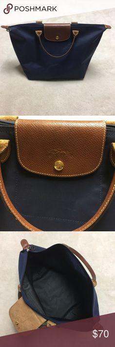 "Medium Navy Longchamp Handbag Dark blue Longchamp bag. No rips or holes in the corners. Handle drop is 4"". Longchamp Bags"