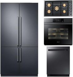 Dacor Kitchen Appliances Package with 42 Inch 4 Door French Door Refrigerator with Panels, 30 Inch Single Wall Oven, 30 Inch Gas Cooktop and 24 Inch Fully Integrated Dishwasher in Graphite Stainless
