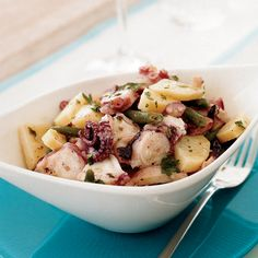 When octopus is slowly simmered, it becomes delicate and tender. Tossed in a salad with potatoes and green beans, then dressed with garlic and parsley, it makes for a very lovely and satisfying dish.
