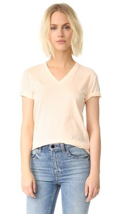 T BY ALEXANDER WANG Superfine Short Sleeve V Neck Tee. #tbyalexanderwang #cloth #dress #top #shirt #sweater #skirt #beachwear #activewear