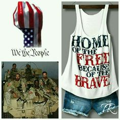 Home of the Free Because of the Brave! Show your support with this cute tank all year long!!! Loose fitting tank Sewn with love made with 96% Rayon and 4% Spandex.  30% Off Bundles  Tops Tank Tops