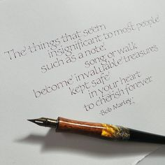 Some pointed pen foundational with a Bob Marley quote. Calligraphy Quotes, Calligraphy Letters, Caligraphy, Beautiful Lettering, Cool Lettering, Hand Lettering, Letter A Crafts, Letter Art, New Year Cards Handmade