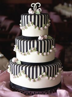 love the tiny rosettes with the black & white on this #wedding cake