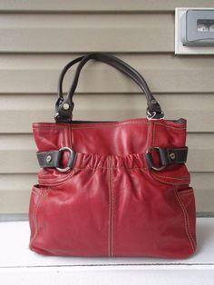 Tignanello shoulder bag Purse tote Red EUC #Tignanello #ShoulderBag