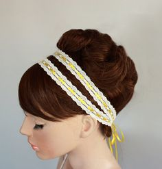 Double Lace Bridal Head Piece Tie Headband by MammaMiaBridal, $45.00
