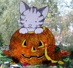 WICOART STICKER WINDOW COLOR CLING FAUX STAINED GLASS HALLOWEEN FALL CHATON