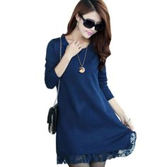 1PC Lace Knitted Pullover Dress