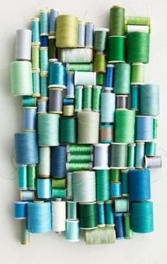 Blue and Green Spools of Thread...