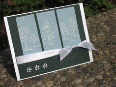 hand crafted card: sparkly trees  by maylee_q ... split panel design ... Lovely as a Tree embossed in white on sky blue ... Stampin' Up!