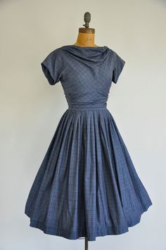 50s dress / vintage 1950s draped collar dress by simplicityisbliss, $132.00