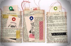 Three french paper pockets with tags