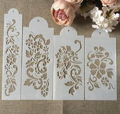 Stencil Patterns, Stencil Designs, Stencil Painting, Fabric Painting, Scrapbook, Flores Diy, Front Wall Design, Decorative Room Dividers, Decoupage Vintage