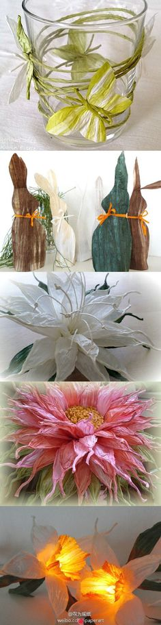 """gorgeous detail created by pinching the ends of the petals . . . (note: i got a """"may link to inappropriate content"""" warning and did not continue, so click through at your own risk.) paper flower crafts #inspiration -- looks like #crepePaper or #tissuePaper"""