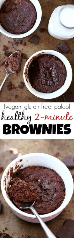 This Healthy Two Minute Brownie is so fudgy, moist, and chocolatey, that you'd never be able to tell it's made with NO flour, NO butter, and NO oil! | runningwithspoons.com #vegan #paleo #glutenfree #brownies