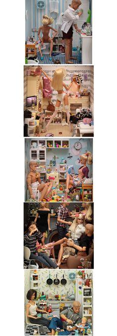 O fotógrafo Mariel Clayton, criou esse ensaio com Barbies transtornadas, como se fosse a vida real delas. Fonte...