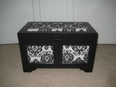 DIY reclaimed damask wooden chest