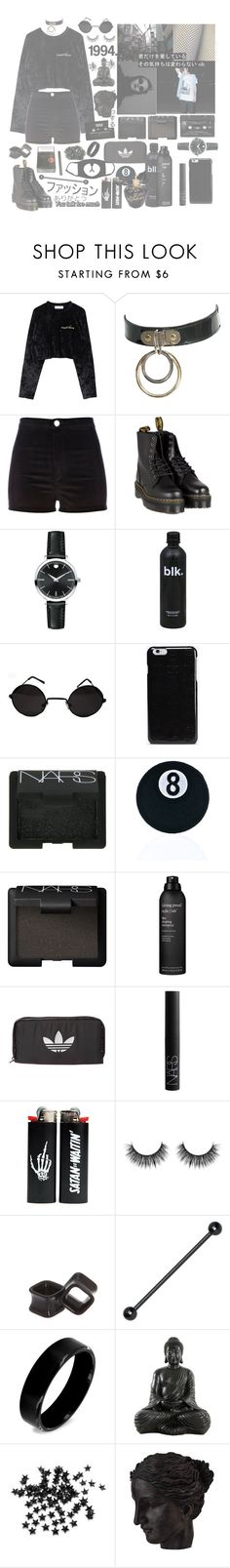 """""""doomed ~ 🎱"""" by askingmychempilots ❤ liked on Polyvore featuring River Island, Dr. Martens, Floyd, Movado, Retrò, Maison Margiela, NARS Cosmetics, C&D Visionary, Living Proof and adidas Originals"""