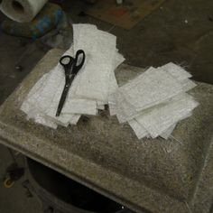 To repair this vet cove we need to cut lots of 2mm fiberglas matting to size