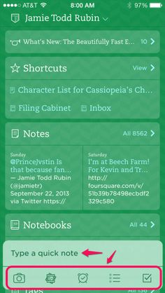 Using Quick Notes in the New Evernote App for iOS 7