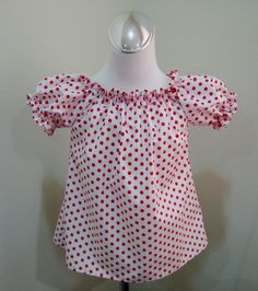 Custom Boutique White With Red Polka Dots Peasant by FRANCISBEL