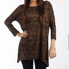 SALE HIDDEN ELEMENTS Tunic in Blue and Brown lg Gorgeous Tunic in navy and brown sz large but could easily fit a medium also :) Tops Tunics