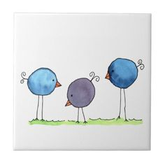 Three Whimsical Watercolor Birds Fun watercolor painting of three whimsical birds in blue and purple with long skinny legs standing on green grass. Easy Watercolor, Watercolor Animals, Watercolor Paintings, Bird Canvas Paintings, Watercolour, Bird Doodle, Doodle Art, Bird Drawings, Easy Drawings