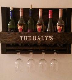 Personalized Rustic Wine Rack // Pallet Wine Rack // Rustic