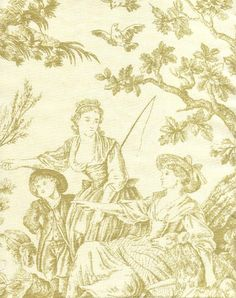 Image detail for -Ane Toile de Jouy Fabric Sage green scenic printed toile on cream ...