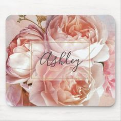 Monogrammed Gifts For Her, Monogram Gifts, Electronic Gifts, Custom Mouse Pads, Unique Gifts For Her, Christmas Gifts For Her, Christmas Card Holders, Customized Gifts, Pink Roses