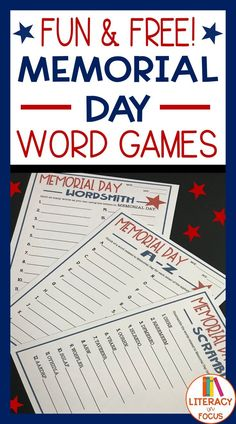 Memorial Day Freebie! Honor Memorial Day with word games! Three different word games for Memorial Day.  Download for free today! #memorialday #wordgames #freeprintable
