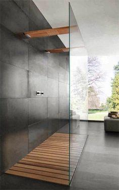 faire une douche à l italienne, mur en gris foncé, sol en dalles gris grand format