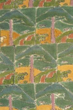 Raymond Duncan textile panel, ca. 1920. block printed and hand coloured, each signed in the lower right corner.  Now, in the Philadelphia Museum of Art.