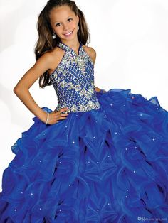 2016 New Girls Pageant Dresses Halter Royal Blue Organza Crystal Beaded Long Ball Gown Tiered Pleats Size 13 Party Children Flower Girl Gown Online with $99.47/Piece on Yes_mrs's Store | DHgate.com