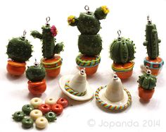 JOPANDA lampwork Beads handmade SRA - Mexico, Cactus & Fiesta Set incl. Sombrero