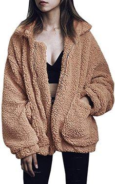 aaa8c07b774 Teafor Womens Fashion Long Sleeve Lapel Zip Up Faux Shearling Shaggy  Oversized Coat Jacket with Pockets