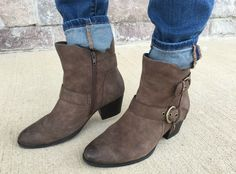 Earth Brand Brown Ankle Boots - Five Outfit Ideas + Giveaway - momma in flip flops Brown Ankle Boots, Riding Boots, Black And Brown, Flip Flops, Casual Outfits, Outfit Ideas, Footwear, Pairs, Earth