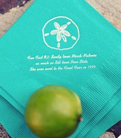 Use small details of your wedding (napkins or table numbers) to tell your guests fun facts about the couple!