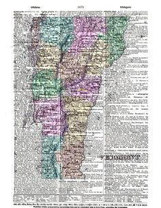 Historical Antique Map of Vermont Vintage by KFLGetsHerFunkOn  Know anyone from Vermont? Or went to UVM? If they miss it, this print would make a lovely home decor gift.