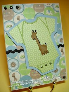 Cricut Baby Boy Card. Onesie from Wrap it Up and Giraffe from New Arrival. *