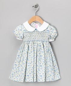 Take a look at this Blue & Yellow Bud Smocked Dress - Infant, Toddler & Girls by Emily Lacey on #zulily today!