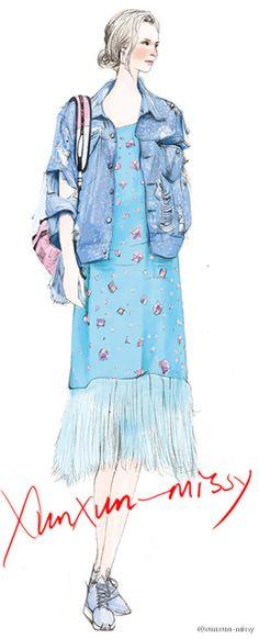 Diseño ilustrador de moda pintada a mano