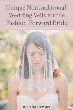 Whether you're a bohemian bride who gravitates toward crocheted lace, embroidery, or fringe or a minimalist who's looking for a subtle twist on a classic accessory, we have you covered—the following nontraditional wedding veils are sure to inspire your own. #weddingideas #wedding #marthstewartwedding #weddingplanning #weddingchecklist Wedding Veils, Wedding Poses, Chapel Length Veil, Crocheted Lace, Nontraditional Wedding, Blue Wedding Dresses, Bohemian Bride, Lace Embroidery, Newlyweds